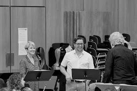 Joyce DiDonato, Michael Spyres, John Nelson rehearsing Berlioz's Les Troyens (Photo Gregory Massat)