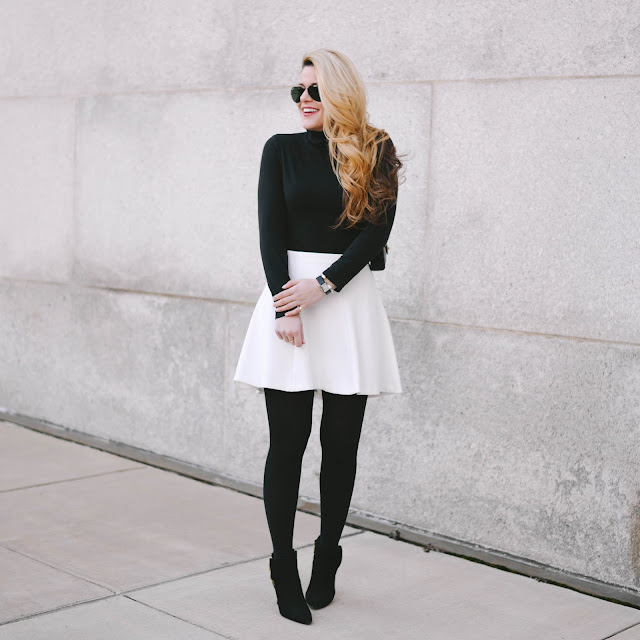 how to style a white fit and flare skirt