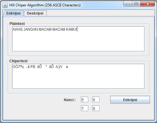 Algoritma Hill Chiper Untuk Menangani 256 Karakter ASCII Menggunakan Java