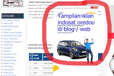gambar Berikut adalah tampilan iklan spam Indosat Ooredoo di blog