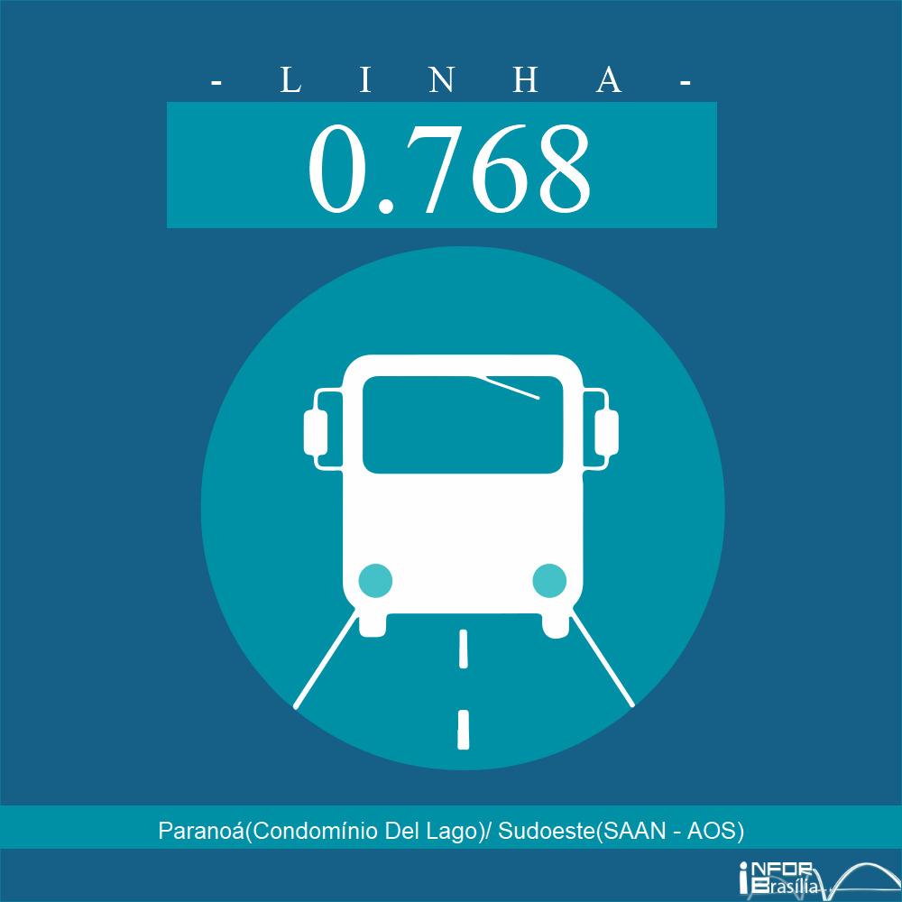 Horário de ônibus e itinerário 0.768 - Paranoá(Condomínio Del Lago)/ Sudoeste(SAAN - AOS)