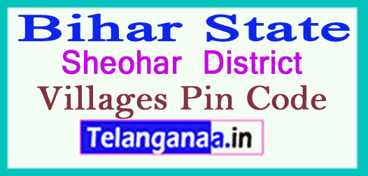 Sheohar District Pin Codes in Bihar State