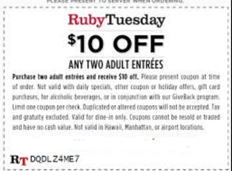 graphic regarding Ruby Tuesday Printable Menu named Ruby tuesday lower price code - Oct 2018 Keep Discounts