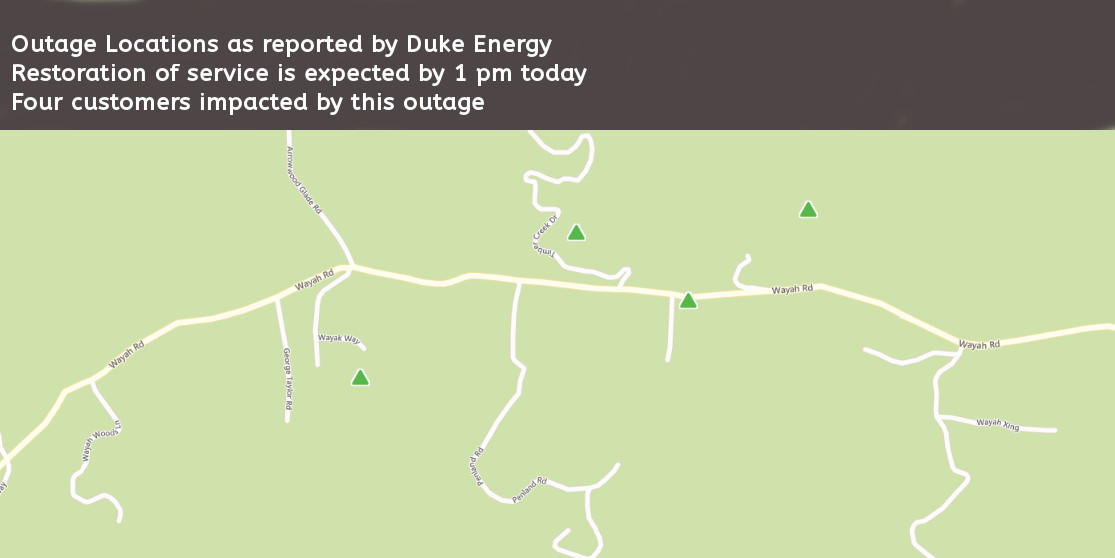 Map showing approximate location of outages  Date provided by Duke Energy