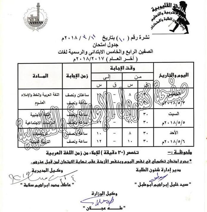 جدول امتحانات الصف الرابع الابتدائي 2018 الترم الثاني محافظة القليوبية