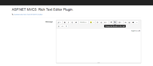ASP.NET MVC5: Rich Text (WYSIWYG) Editor Extended with RTL (Right to Left) text Support