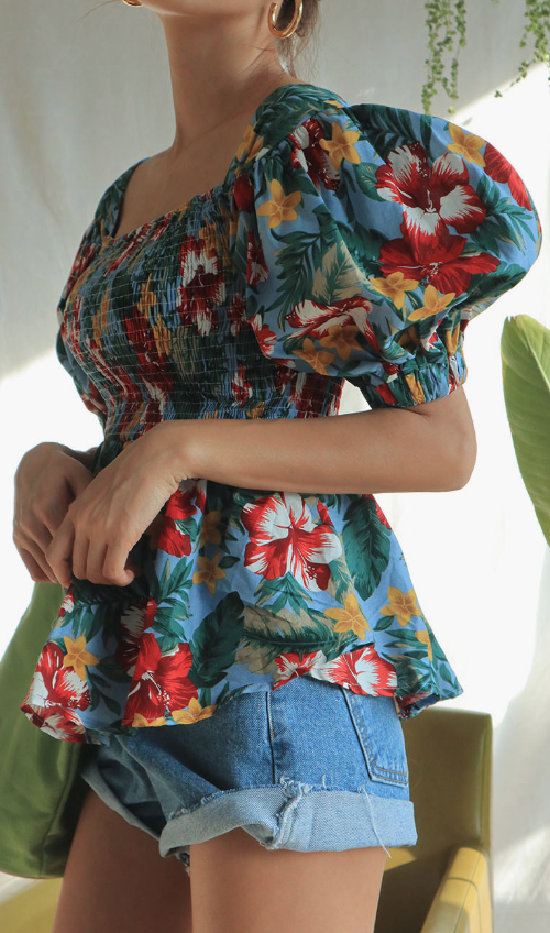 Shirred Floral Print Blouse
