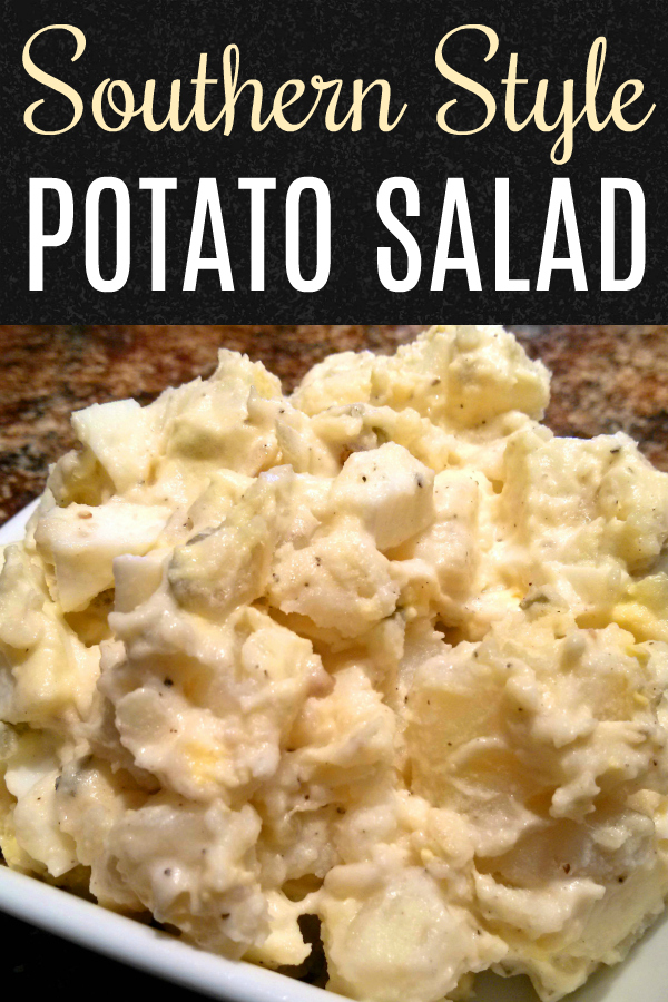 Southern style potato salad recipe with mayonnaise, a little mustard, pickle relish and boiled eggs.