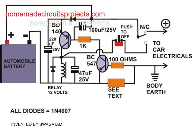 simple automotive electronic fuse circuit