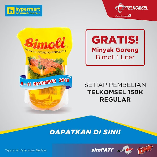 Hypermart - Promo Isi Pulsa Telkomsel Bisa Gratis Minyak Bimoli 1 Lt (s.d 11 Nov 2018)