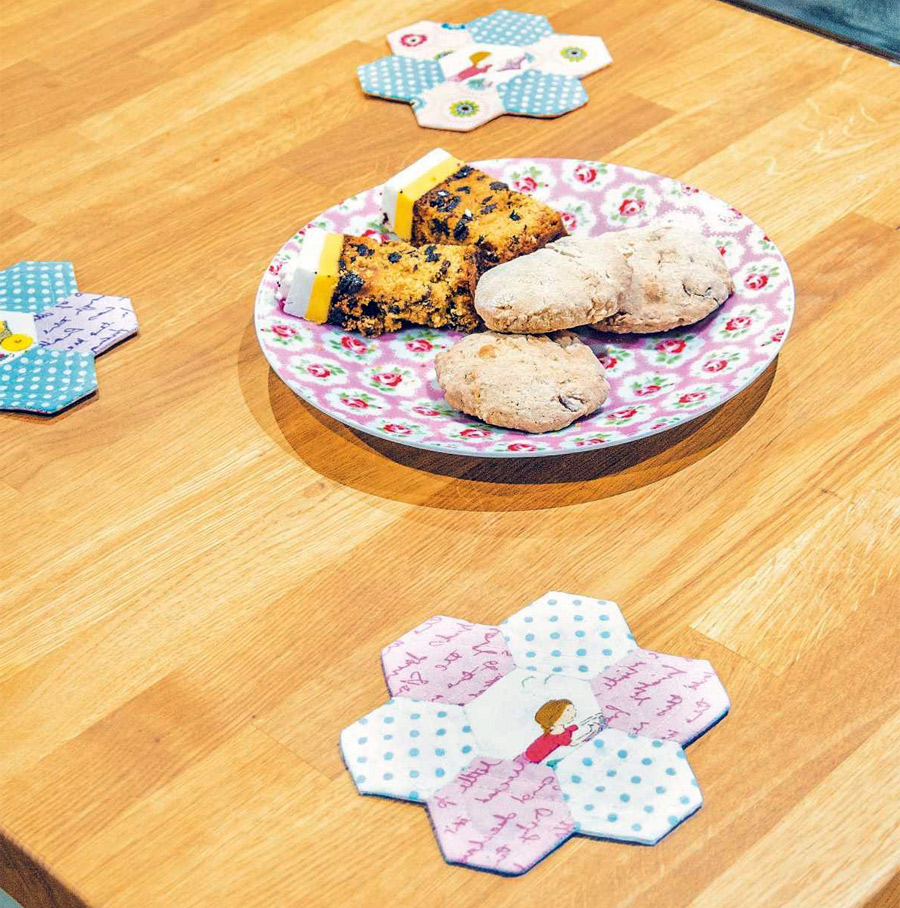 Scrappy Hexi Coasters. Patchwork