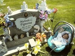 Baby Christopher Ruben at his mother's grave. First stop after being released from the hospital.