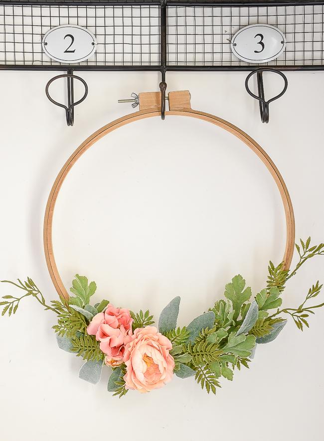 Beautiful spring flowers on vintage quilt hoop