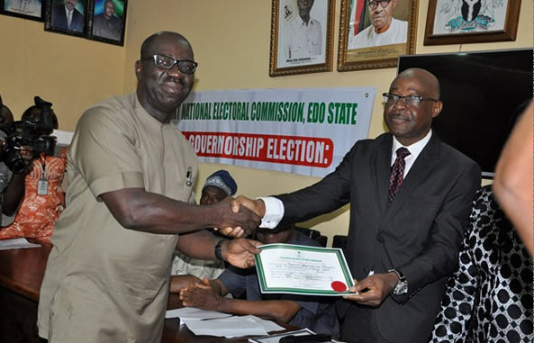 INEC presents certificate of return to Edo State governor-elect Godwin Obaseki