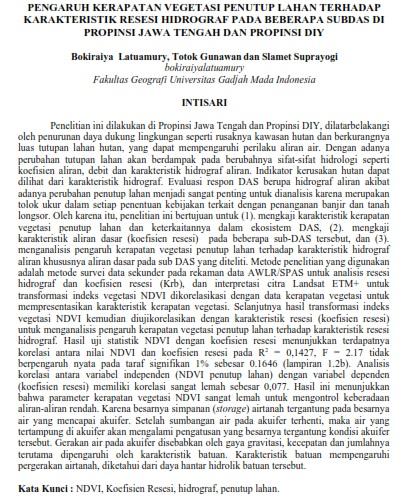 Pengaruh Kerapatan Vegetasi Penutup Lahan terhadap Karakteristik Resesi Hidrograf [Paper]
