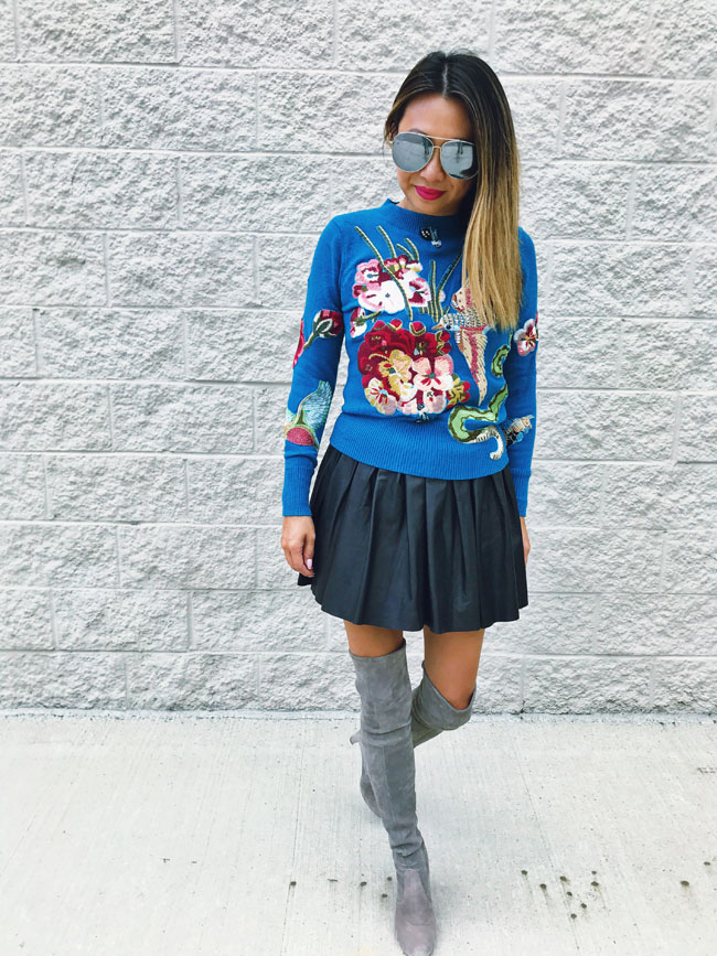 How to Style Over the Knee Boots, Embroidered Sweater, Over the Knee Boots for Fall