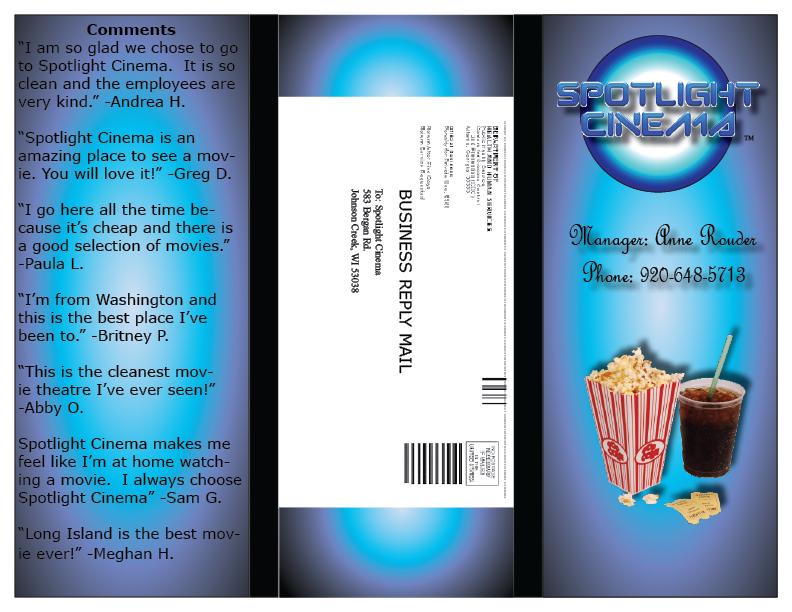 Desktop Publishing Movie Theater Tri Fold Brochure Outside