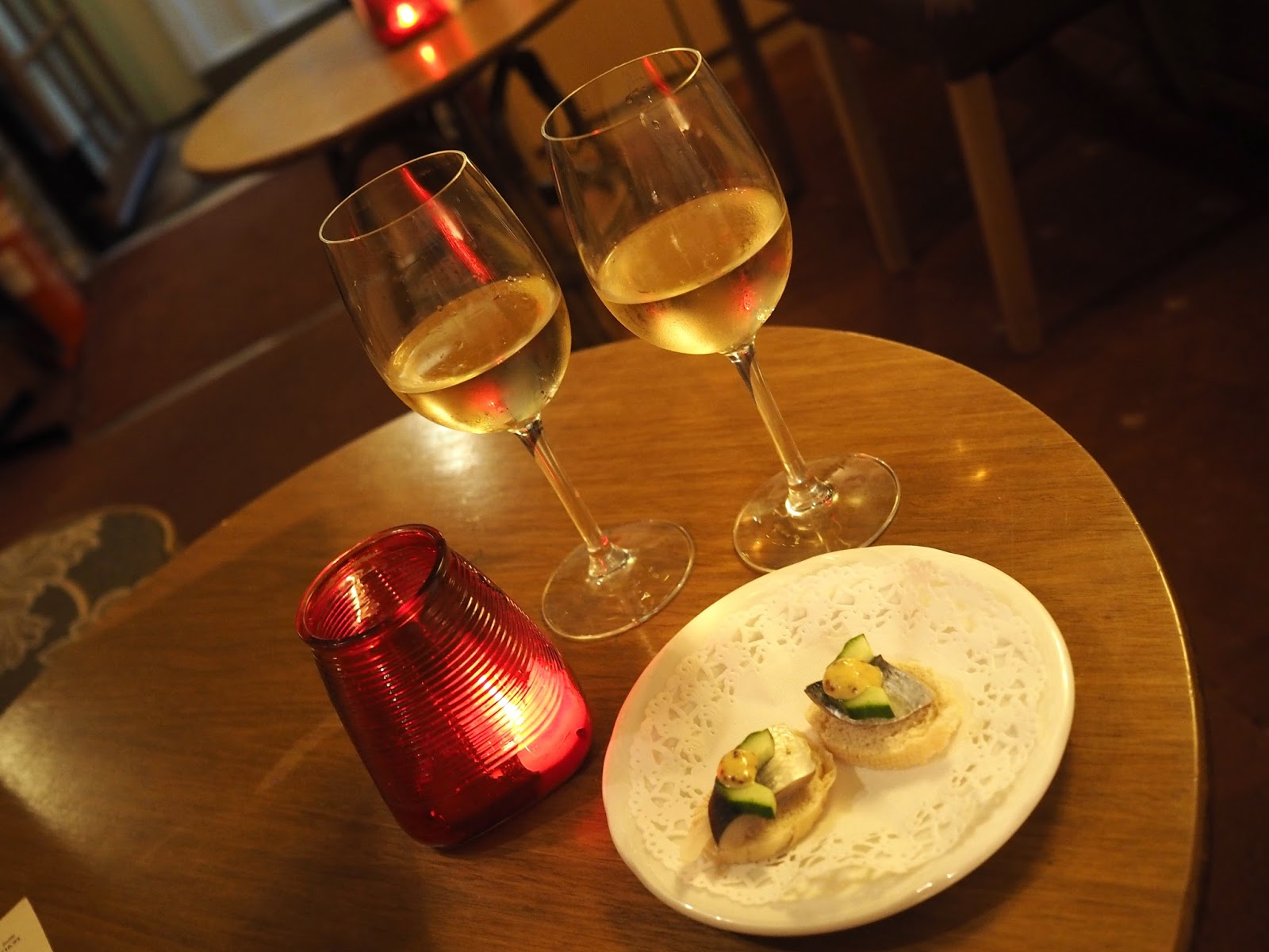 Bar area and canapes at Le Caveau, excellent French restaurant in Skipton, North Yorkshire