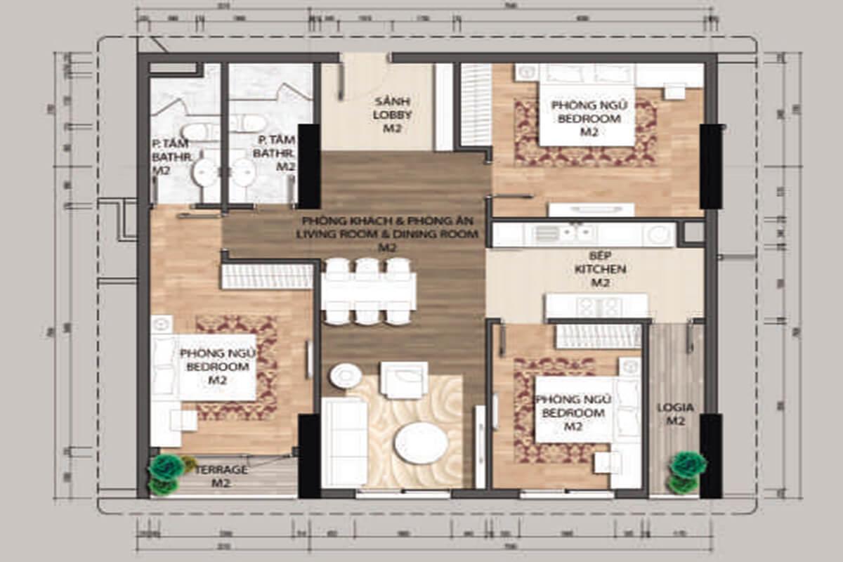 Mặt bằng căn hộ C2-3 phòng ngủ – 104.5m2