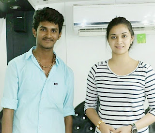 Keerthy Suresh in Black and White T-Shirt with Cute and Lovely Smile with a Lucky Fan