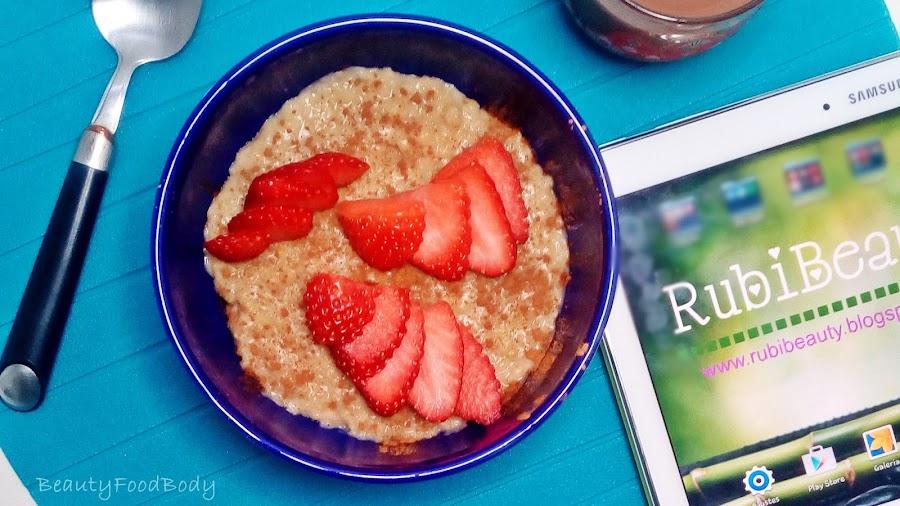 receta light fit sana porridge gachas avena y fruta