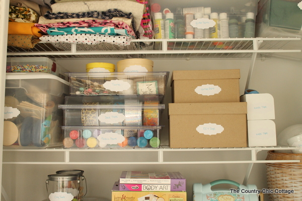Organized Craft Closet -- turn any under utilized closet in your home into a fabulous craft closet with these tips and tricks.