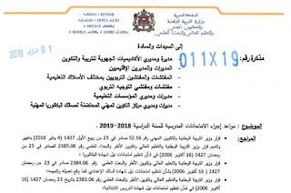 اجراء الامتحانات المدرسية للسنة الدراسية 2019.2018
