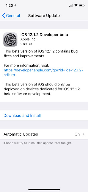 iOS 12.1.2 beta download available
