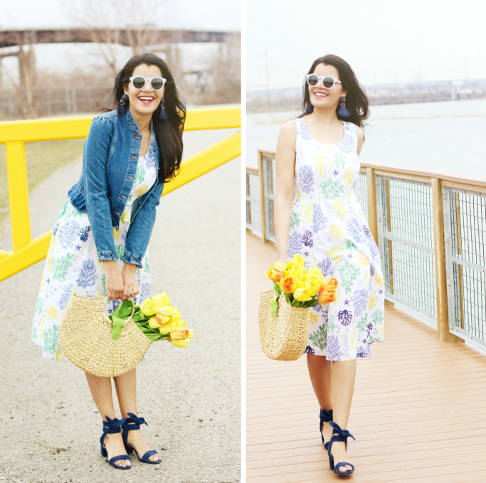 eShakti cotton dress, fit and flare dress for Spring, How to wear denim jacket with dresses, Gap ruffle denim jacket, Ivanka Trump Edline ankle tie sandals, Zara straw bag, flowers in a bag photo style