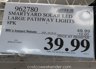 Deal for an 8 pack of SmartYard LED Solar Pathway Lights model 10192 at Costco
