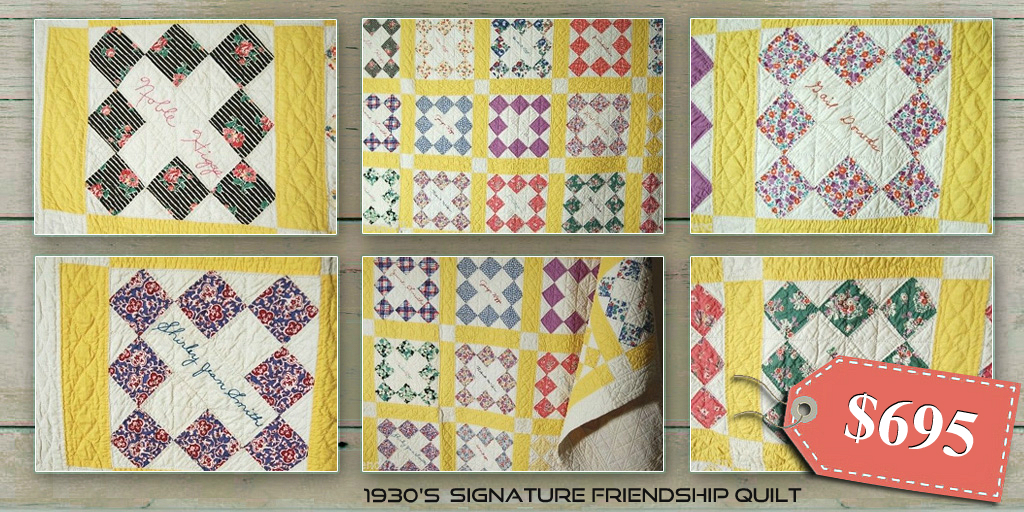 1930s Signature friendship quilt