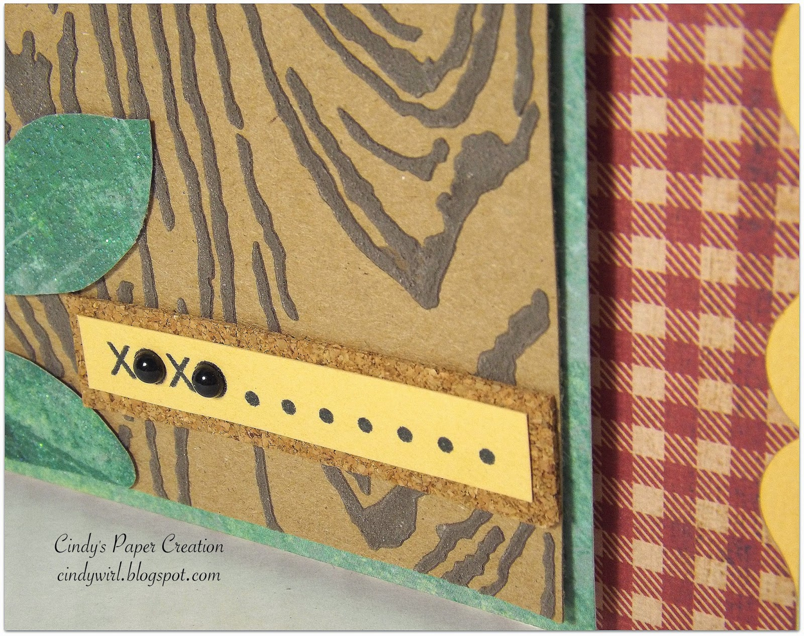 close up of faux bark, wood grain card using homemade texture paste
