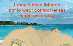 Keratoconus Cartoon: Swimming with Contact Lenses