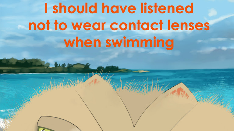 Keratoconus Cartoon: Swimming with Contact Lenses