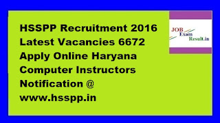 HSSPP Recruitment 2016 Latest Vacancies 6672 Apply Online Haryana Computer Instructors Notification @ www.hsspp.in