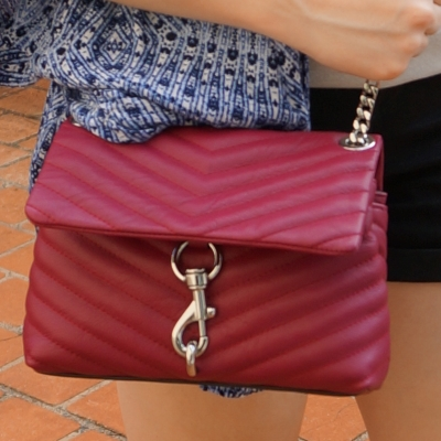 navy printed kimono with magenta chevron quilted Rebecca Minkoff edie bag   awayfromtheblue