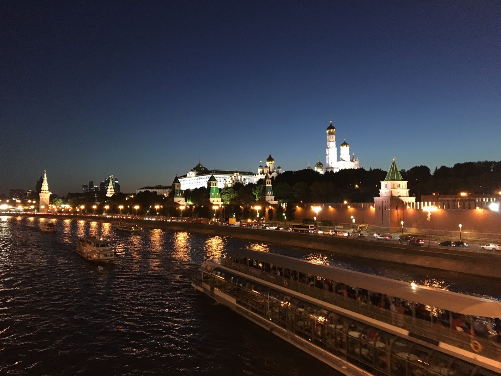 beautiful Moscow by night by boat