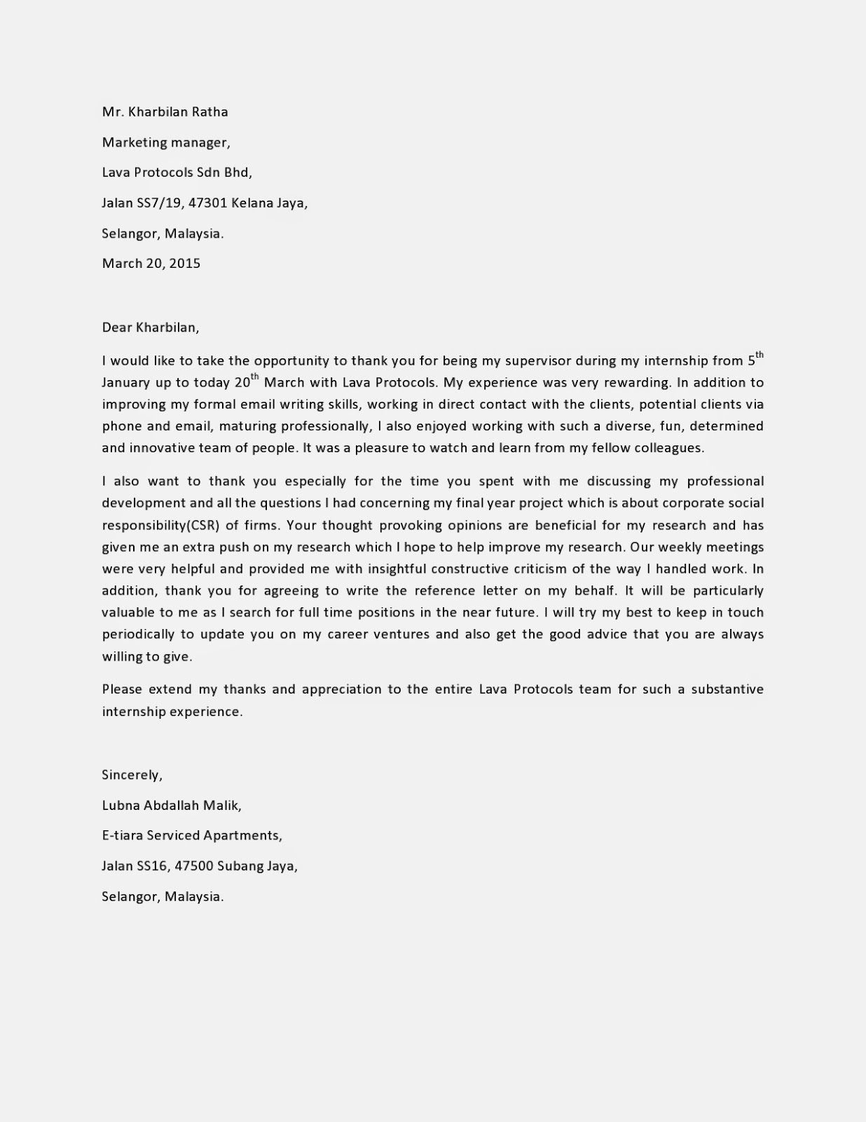 internship thank you letter to supervisor resume builder internship thank you letter to supervisor sample post internship thank you letter the balance appointment letter