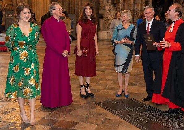 Princess Eugenie of York wore a green floral dress by Alice & Olivia with long sleeves that reached her knees.