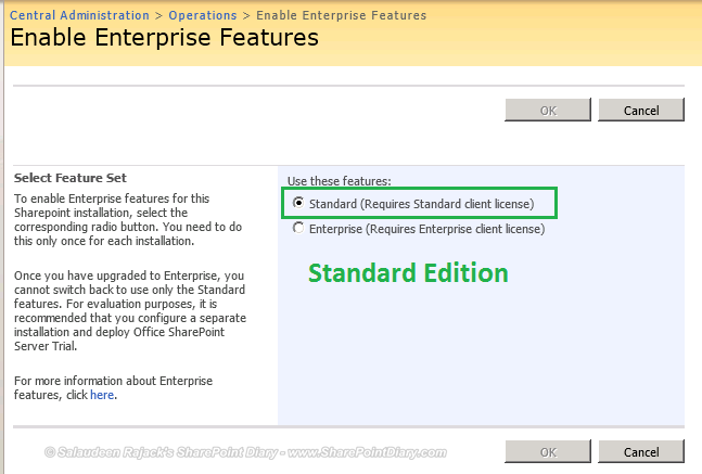 How to find whether its standard or enterprise edition in sharepoint