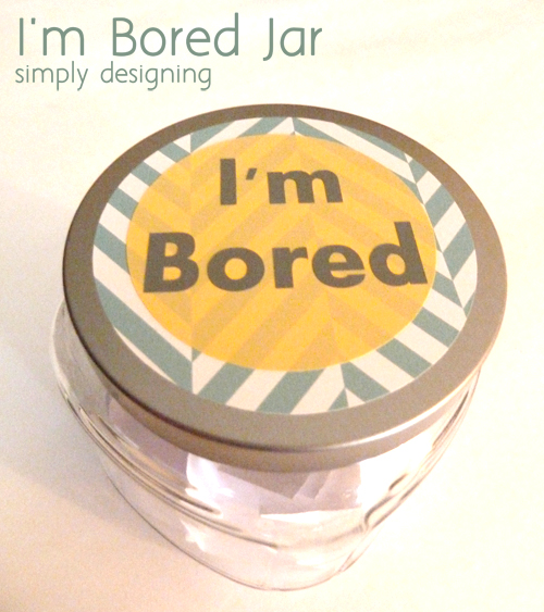 "I'm Bored Jar - a perfect jar for your kids to choose from when they say they are ""bored"" I filled mine with a variety of activities, from fun ones to chores. #kids #boredombuster #craft #diy"