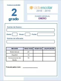 Examen Mensual Segundo grado 2018-2019