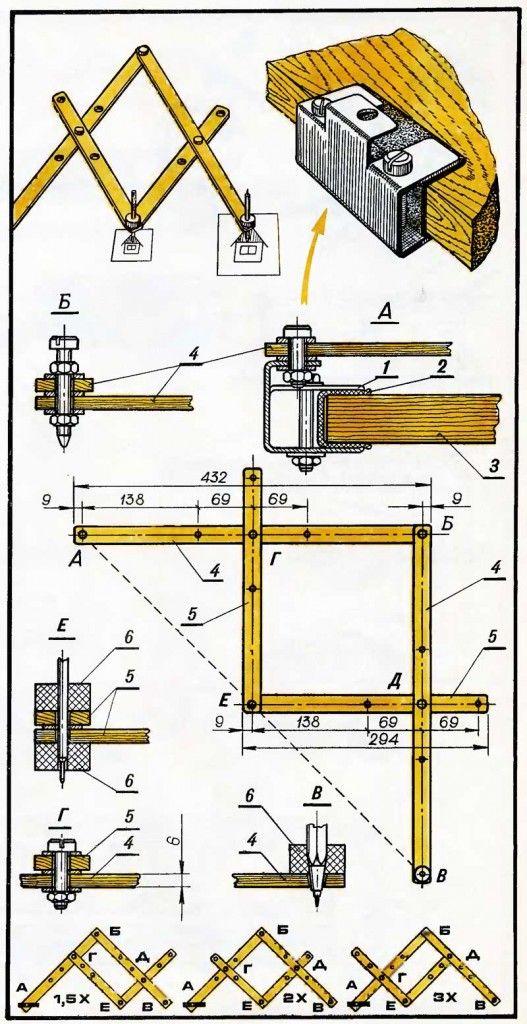 Pantógrafo, usado para ampliação de carateres Uso de carateres em