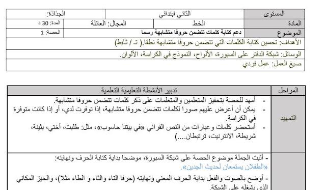 جذاذات الكتابة الانتاج الكتابي والاملاء الاسبوع 4 من الوحدة 1 في رحاب اللغة العربية المستوى الثاني ابتدائي