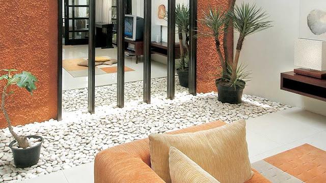 Interior stones landscaping design, interior landscaping idea, interior garden design; interior design idea