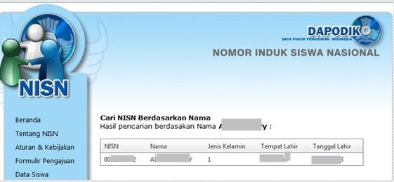 Cara Mencari NISN Berdasarkan Nama Siswa