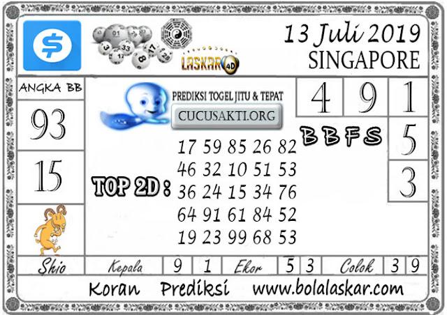 Prediksi Togel SINGAPORE LASKAR4D 13 JULI 2019