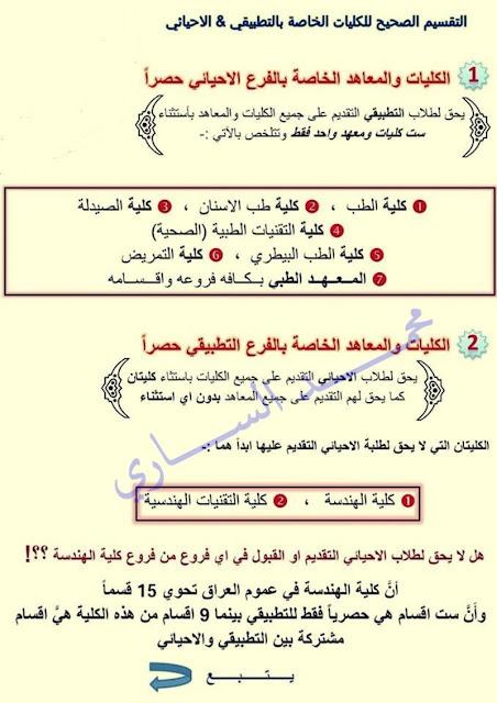 التقسيم الصحيح لكليات الفرعين التطبيقي و الاحيائي للعام الجديد 2018/2017