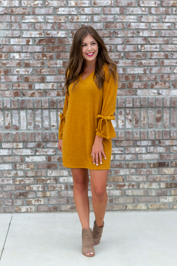 Fireside Mustard Sweater Dress- Cotton Ave Boutique