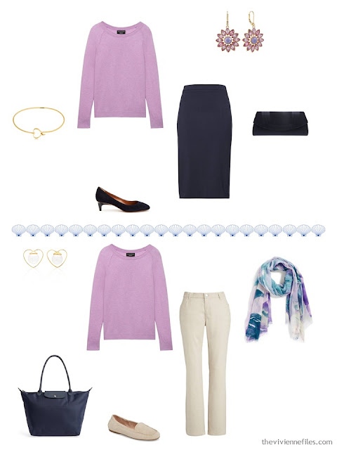 2 ways to wear a thistle pink sweater from a 4 by 4 Travel Capsule Wardrobe